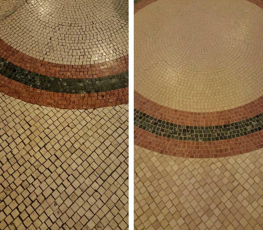 Pavimento in marmo prima e dopo
