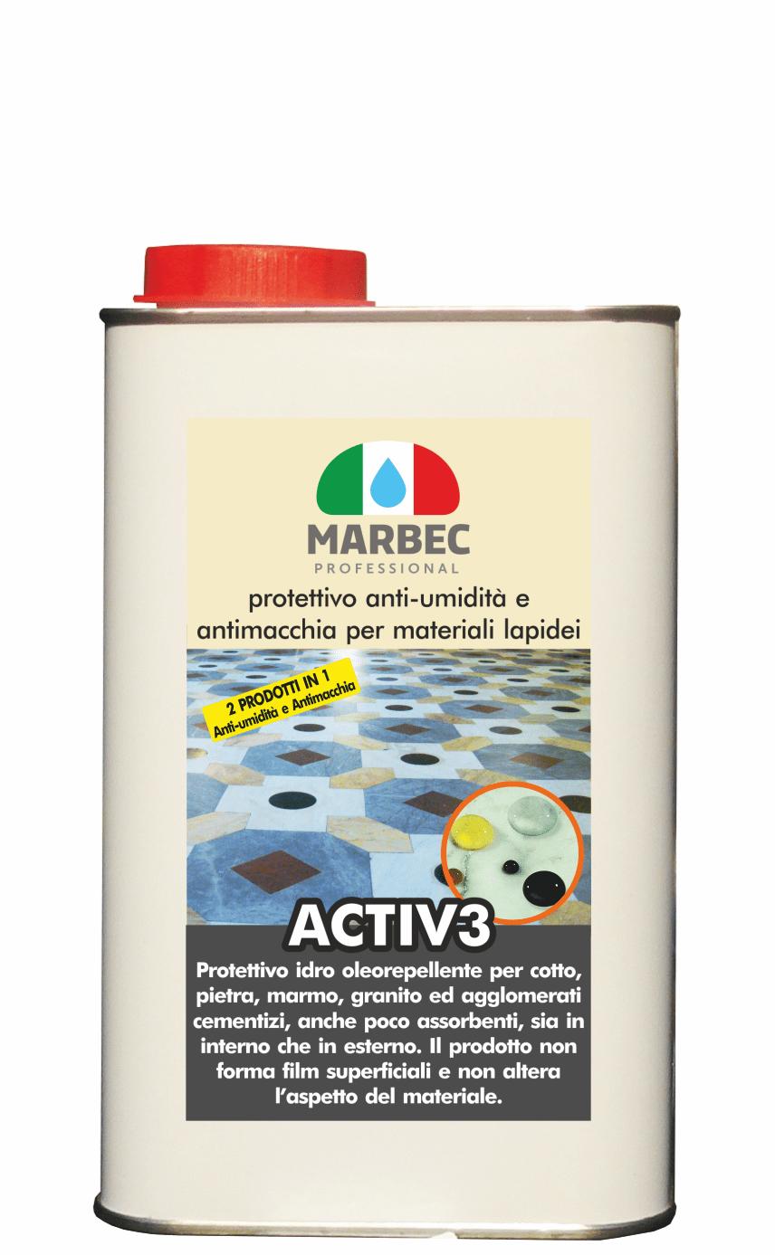 Marbec | ACTIV3 1LT Protettivo anti umidità di risalita e anti macchia per materiali lapidei