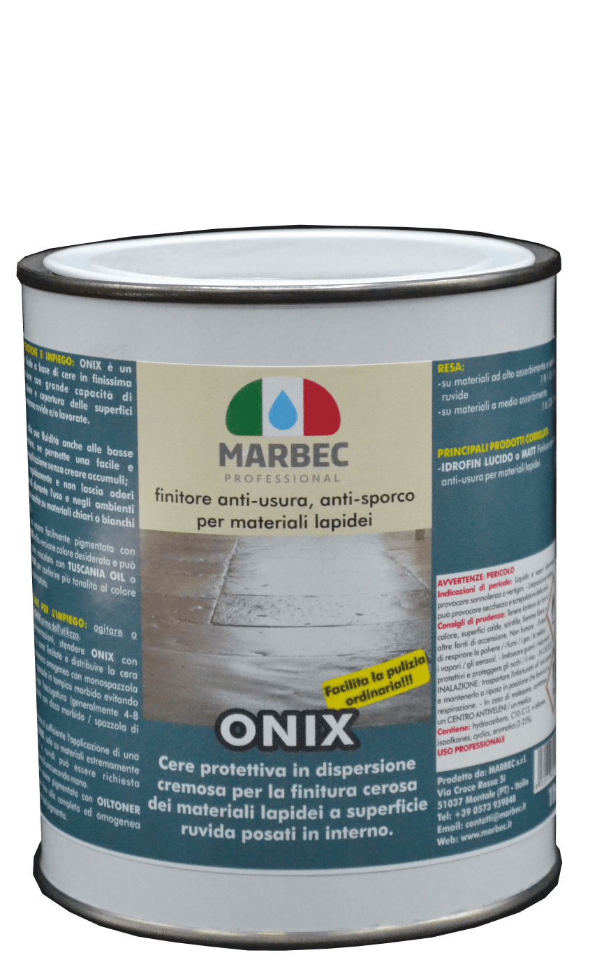 Marbec ONIX 1LT | Finitore anti-usura, anti-sporco per materiali lapidei ruvidi