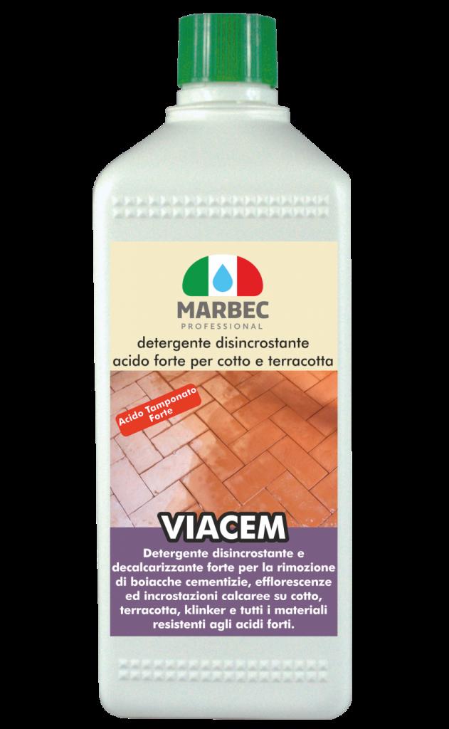 Marbec - VIACEM 1LT | detergente disincrostante acido forte per cotto e terracotta