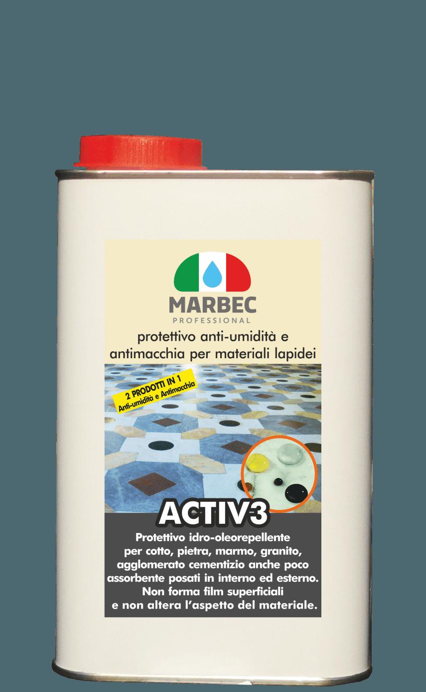 Marbec | ACTIV3 1LT Protettivo anti-umidità e antimacchia per materiali lapidei