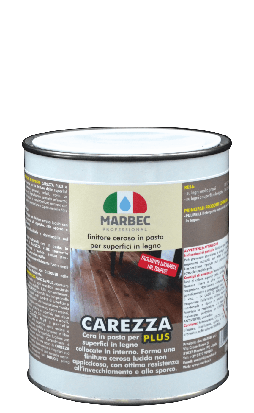 MARBEC | CAREZZA PLUS 1lt Finitore ceroso in pasta per superfici in legnosito