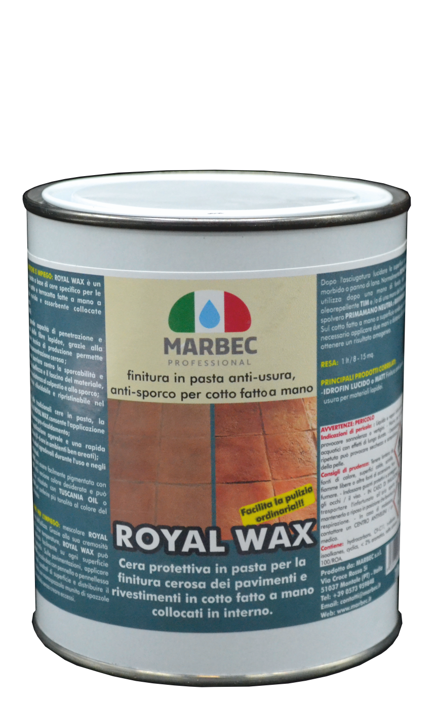 Marbec - ROYAL WAX 1LT | finitura in pasta anti-usura, anti-sporco per cotto fatto a mano