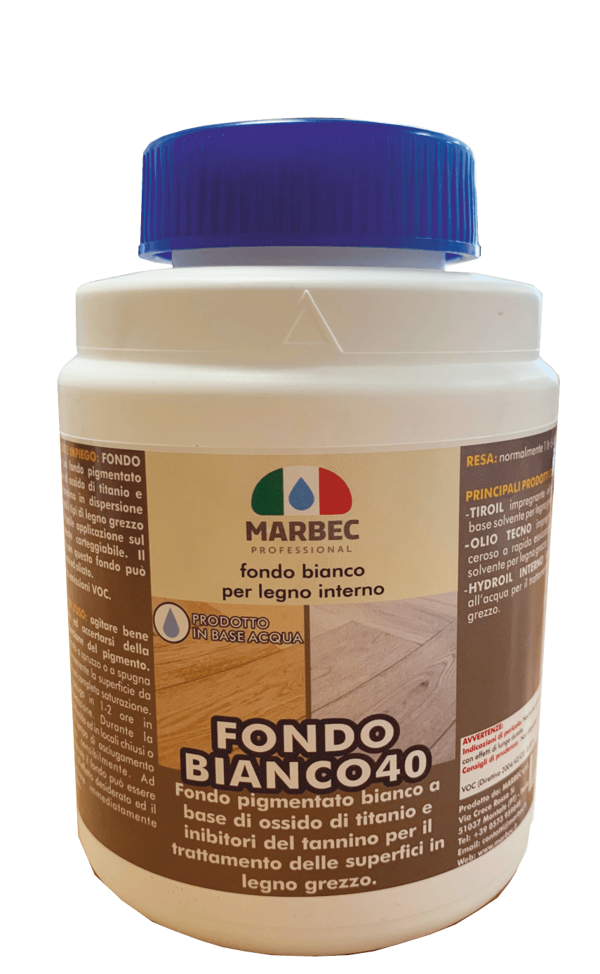 Marbec - FONDO BIANCO 40 1KG | Fondo bianco per legno interno