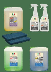 Marbec - Kit grande completo di prodotti specifici per pavimenti in gres porcellanato