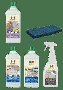 Marbec - Kit piccolo completo di prodotti specifici per pavimenti in gres porcellanato