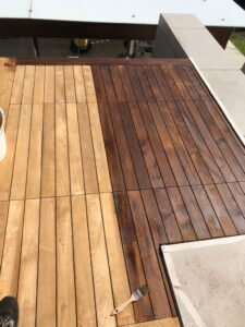 Before and after external teak