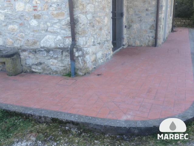 Marbec | pavimento cotto per esterni prima della pulizia
