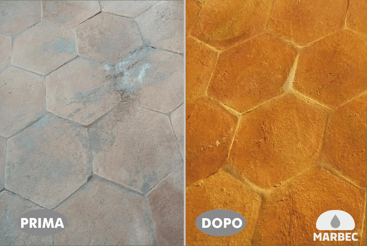 Marbec | Sechseckige handgemachte Terrakottafliesen - vor und nach der Behandlung mit Tim Primamano Royal Wax Idrofin lucido