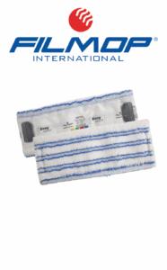 ENERGY-FUR - panno in microfibra bianca a righe blu con abrasivo, supporto in tela poliestere, con alette